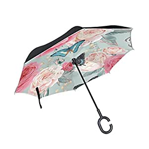 ALAZA Beautiful Peony Rose Flower Butterfly Inverted Umbrella, Large Double Layer Outdoor Rain Sun Car Reversible Umbrella