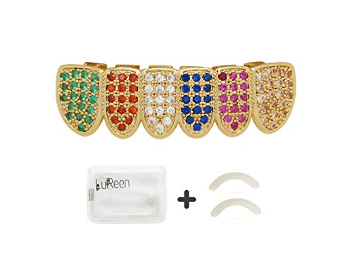 Lureen 14k Gold Plated Rainbow Pave Full Iced Out CZ Grillz Set + 2 Extra Molding Bars (Grillz Bottom) -