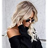 Vedar 2018 Summer Style Flawless- Wob Hair (Wavy Bob) Dirty Blonde Hair Brown Rooted Blonde Lace Front Wigs for Women (Brown Roots 18'')
