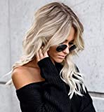Vedar 2019 Summer Style Flawless- Wob Hair (Wavy Bob) Dirty Blonde Hair Brown Rooted Blonde Lace Front Wigs for Women (Brown Roots 18'')
