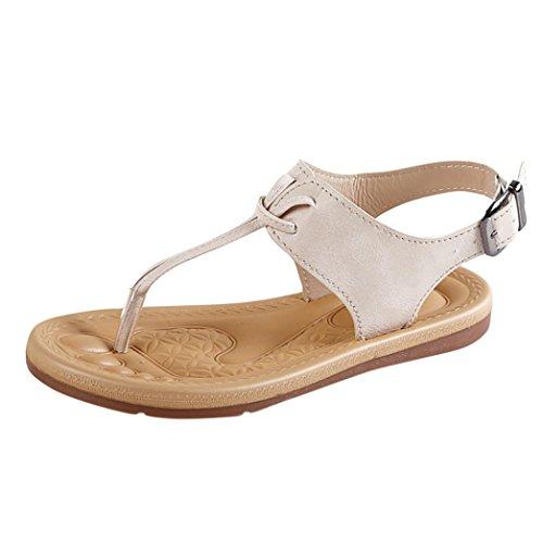 IGEMY Frauen Prise flachem Boden römischen Sandalen, Sommer Strand Anti Skidding Flip Flop flache Schuhe Beige