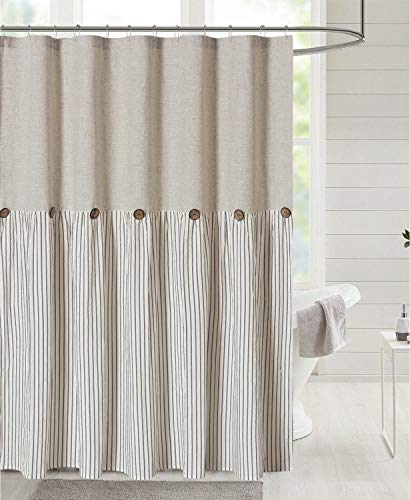 DOSLY IDÉES Linen Button Farmhouse Beige Shower Curtain,Linen and Cotton Woven Fabric,Pleated Gray Stripe,Country Style…