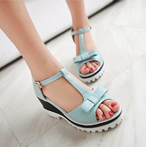 Aisun Womens Sweet Strik Platform T Strap Peep Toe Jurk Wedge Sandalen Blauw