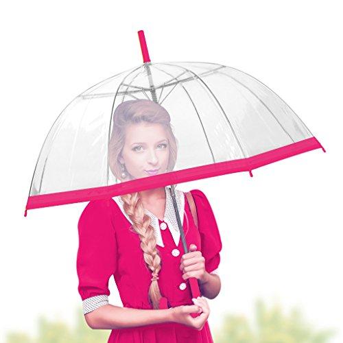 Romantic Bubble (Bubble Transparent Umbrella Dome - Romantic Clear &color Umbrella for Rain by outdew (pink wide strip))