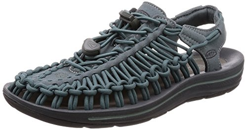 (KEEN Women's Uneek Sandal, Stormy Weather/Wrought Iron, 8 M US)