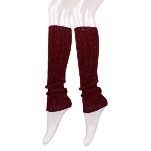 Fancy Slip Stitch Rib Knit Solid Color Leg Warmers, Burgundy - Fancy Slip
