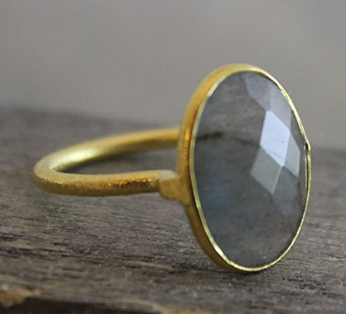 (Oval Labradorite Gemstone Gold Plated Sterling Silver Statement Ring, size 7)