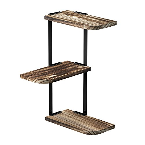LoveKANKEI Corner Shelf Wall Mount of 3 Tier Rustic Wood Floating Shelves for Bedroom Living Room Bathroom Kitchen Office and More
