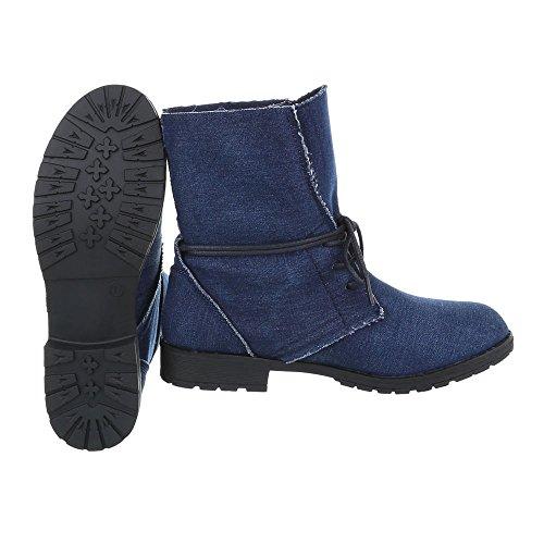 Ital-Design Schnürstiefeletten Damenschuhe Schnürstiefeletten Blockabsatz Schnürer Schnürsenkel Stiefeletten Blau H912B