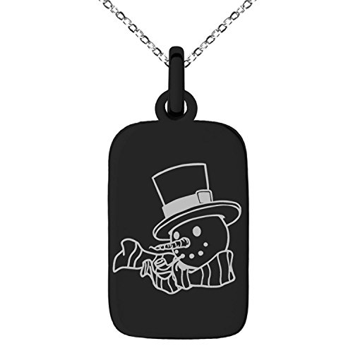 Black Stainless Steel Tophatter Snowman Engraved Small Rectangle Dog Tag Charm Pendant - Charm Black Snowman