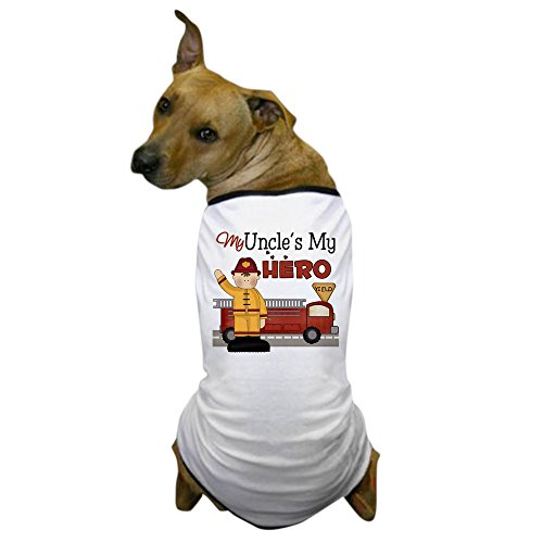 CafePress - Uncles My Hero Firefighter Dog T-Shirt - Dog T-Shirt, Pet Clothing, Funny Dog Costume (Dog Firefighter Costume)