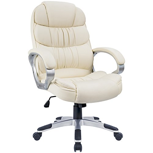 Homall High-Back Office Chair PU Leather Computer Desk Chair, Ergonomic Boss Executive Management Swivel Task Chair with Modern Lumbar Support and Padded Armrests (Beige)