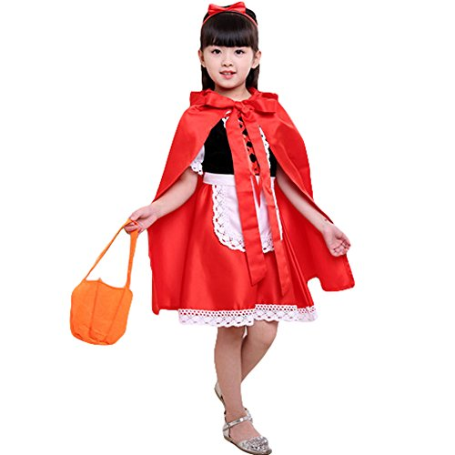 Toddler Red Peasant Dress (GUCHIS Kids' Little Red Riding Hood Performance Costume for Christmas Halloween)