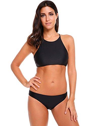 Ekouaer High Neck Bikini Set Lady Bathing Suit 2 Piece Padding Swimsuit (Black, Medium)
