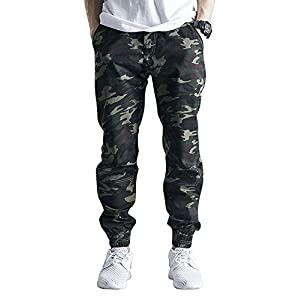 OCHENTA Men's Casual Twill Drawstring Jogger, Slim Fit Tapered Chino Pants