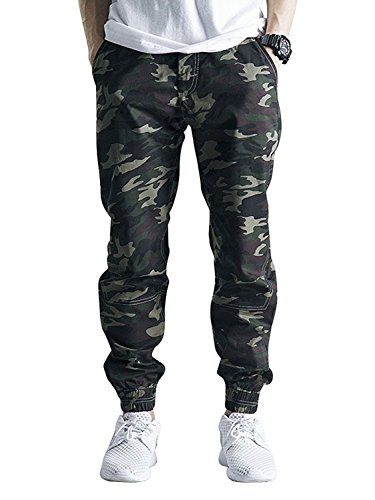 OCHENTA Men's Slim Fit Casual Twill Chino Drawstring Jogger Pants #1235 Army Camo 34