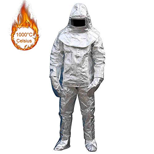 (Hukoer Aluminum Foil 1000 Degree heatproof radiation proof inflaming retarding suit Full set (Coat,Pant,Helmet,Glove,Boot Cover,EC/CCS Approval))
