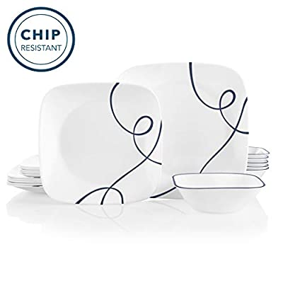 Corelle Service for 6, Chip Resistant Dinnerware Set, 18-Piece, Lia - The 18 piece set includes six 10-1/2 inch dinner plates, six 9 inch salad plates and six 22-ounce soup/cereal bowls The perfect finishing touch to the 18 piece set - add the matching 6-1/2 inch appetizer/snack plates to your collection Nothing-else-like-it, triple-layer-strong glass plates and bowls-say goodbye to chips & cracks - kitchen-tabletop, kitchen-dining-room, dinnerware-sets - 41DcgQoHliL. SS400  -