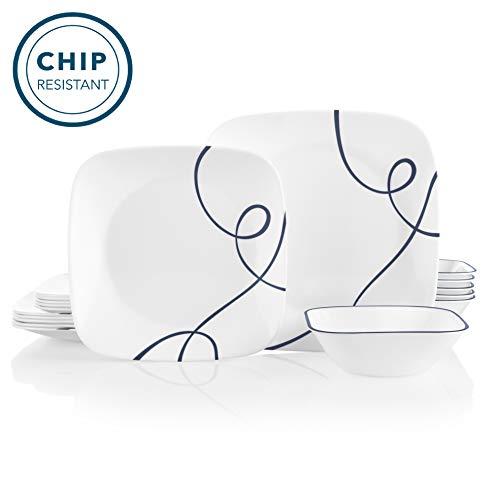 Corelle 18-Piece Service for 6, Chip Resistant Dinnerware Set, Lia (Set Square Corelle Dinnerware)