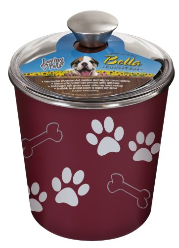 Bowl Bella Bowl Dog (Loving Pets Bella Dog Bowl Canister/Treat Container, Merlot)
