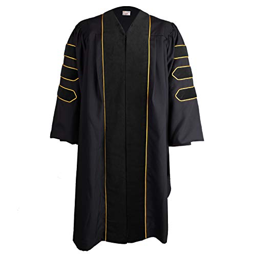 OSBO GradSeason Unisex Deluxe Doctoral Graduation Gown with Gold Piping
