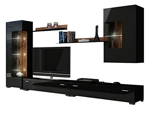 MEBLE FURNITURE & RUGS Hamburg Entertainment Center Wall Unit with LED Lights 70