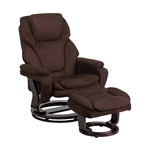 Offex Contemporary Brown Microfiber Recliner And Ottoman With Swiveling Mahogany Wood Base [OF- BT-70222-MIC-FLAIR-GG]