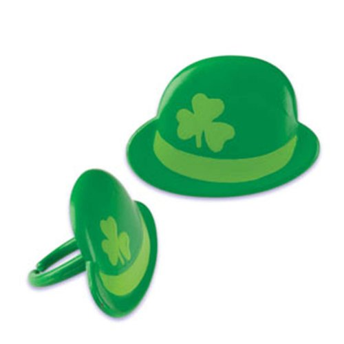 Dress My Cupcake DMC41S-91 12-Pack Derby Hat Ring Decorative Cake Topper, St. Patrick's Day -