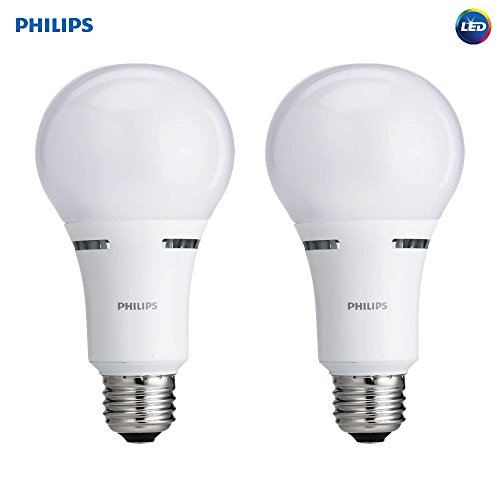 Philips LED 3-Way A21 Frosted Light Bulb: 1600-800-450-Lumen, 2700-Kelvin, 18-8-5-Watt (100-60-40-Watt Equivalent), E26D Medium Screw Base, Warm White, 2-Pack