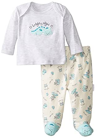 Vitamins Baby Baby-Boys Newborn Dragon 2 Piece Footed Pajama Set, Grey, 3 Months