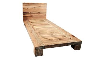 Holzbett rustikal  Einzelbett Bett Teakholz Holzbett Teak rustikal massiv 200 x 90 x ...