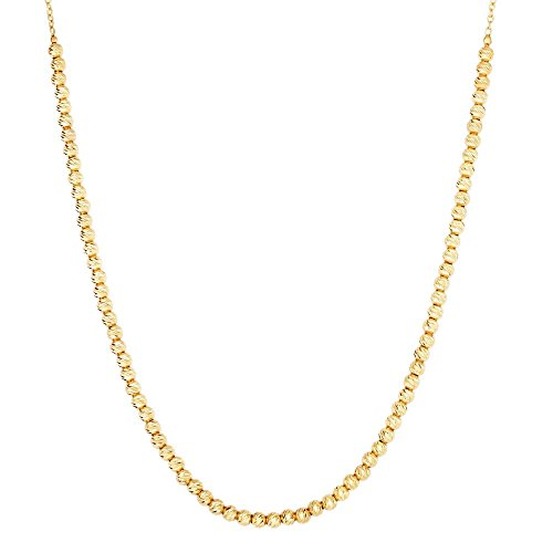 y 2.6-1.1mm Sparkle-Cut Bead Oval Link Fancy Necklace Lobster Clasp - 17 Inch (Link Necklace Gold Fancy Bead)