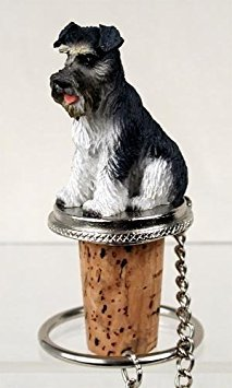 (Schnauzer Gray Uncropped Tiny One Bottle Stopper DTB103B by Conversation Concepts)