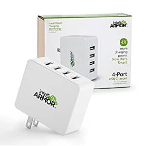 intelliARMOR 5A 4-Port USB Ultra Fast Portable Wall Charger w/ intelliSMART Technology, Folding Plug for Travel. iPhone, iPad, Samsung Galaxy, HTC, LG, Motorola, Smartphones, Tablets