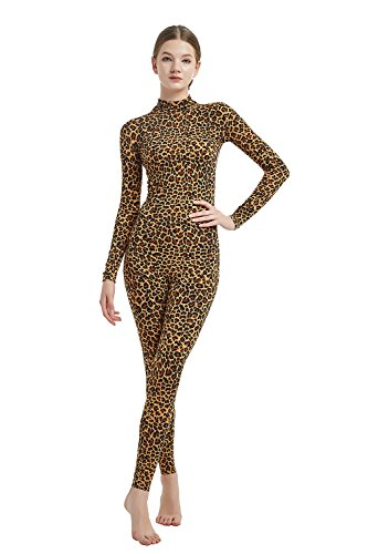 Full Bodysuit Womens Costume Without Hood Gloves Socks Spandex Zentai Unitard (Large, Leopard)