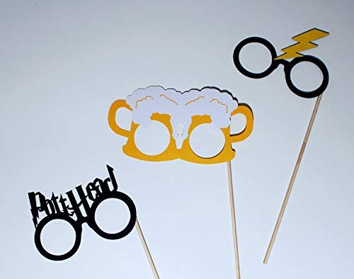 Wizard Glasses Photo Booth Props - 3 pc Set - Includes Beer Goggles, Lightning Bolt Head, and Potthead