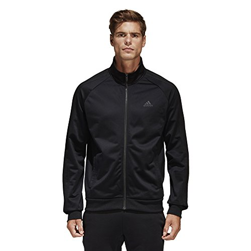 Stripe Warm Up Jacket - adidas Men's Essentials 3-Stripe Tricot Track Jacket, Black/Black, X-Large