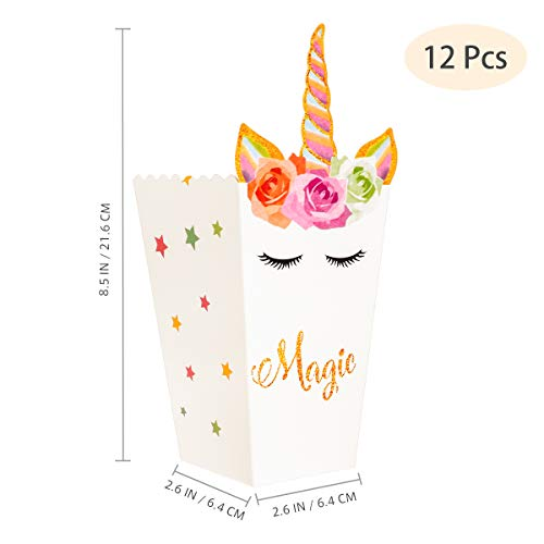 YeahiBaby Popcorn Bag Movie Party Popcorn Box Rainbow Unicorn Themed Party Favors for Cute Fantasy Fairy Girls Birthday Party Supplies -12 Pcs
