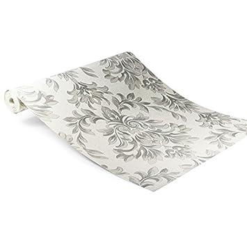 Designer Laurence Llewelyn Bowen Johor Damask Subtle Glitter Silver