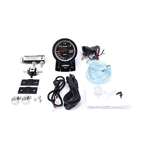 CNSPEED 60MM Car Turbo Boost gauge + Adjustable Turbo Boost Controller Kit 1-30 PSI IN-CABIN Car Gauge/Car Meter (with black Controller):
