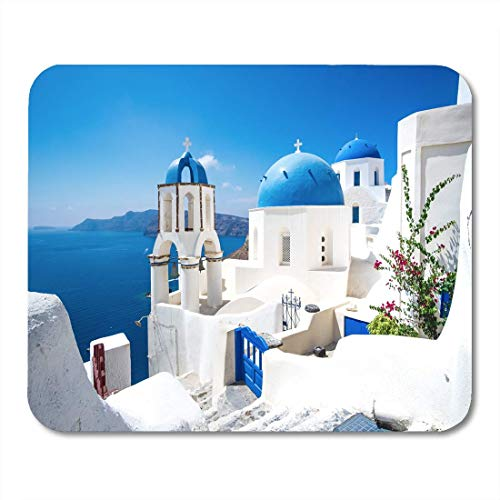 SI Mouse Pads Scenic View of Traditional Cycladic White Houses and Blue Domes in Oia Village Santorini Island Greece Mousepad for Laptop,Desktop Computers Office Supplies Mouse Mats ()