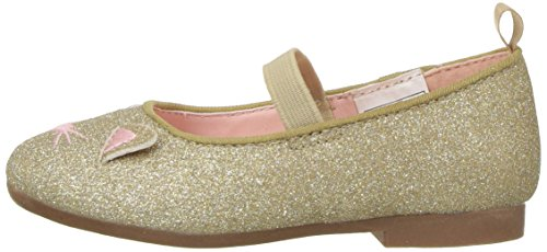 OshKosh B'Gosh Girls' Meow Glitter Cat Ballet Flat, Gold, 7 M US Toddler - Image 5
