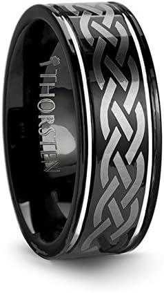 Black Mens Tungsten Wedding Band Celtic Design 8mm