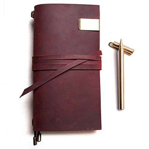 Genuine Leather Travelers Notebook + Copper Pen, Handmade Journals for Men and Women Refillable Planner,Travel to Write in,Lined Paper, Retro Accessories (Red, Standard Size) by IPBEN