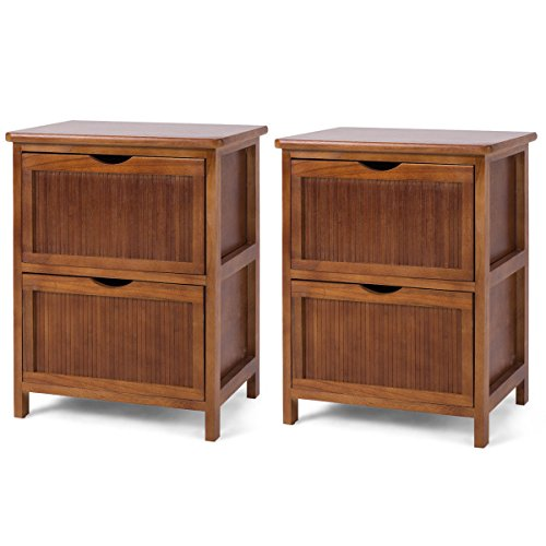 Bedroom Vintage Cabinet - Giantex Set of 2 Night Stand End Table Wood Sofa Bed Beside Table File Cabinet Contemporary Vintage Bedroom Living Room Cabinet w/ 2 Drawers