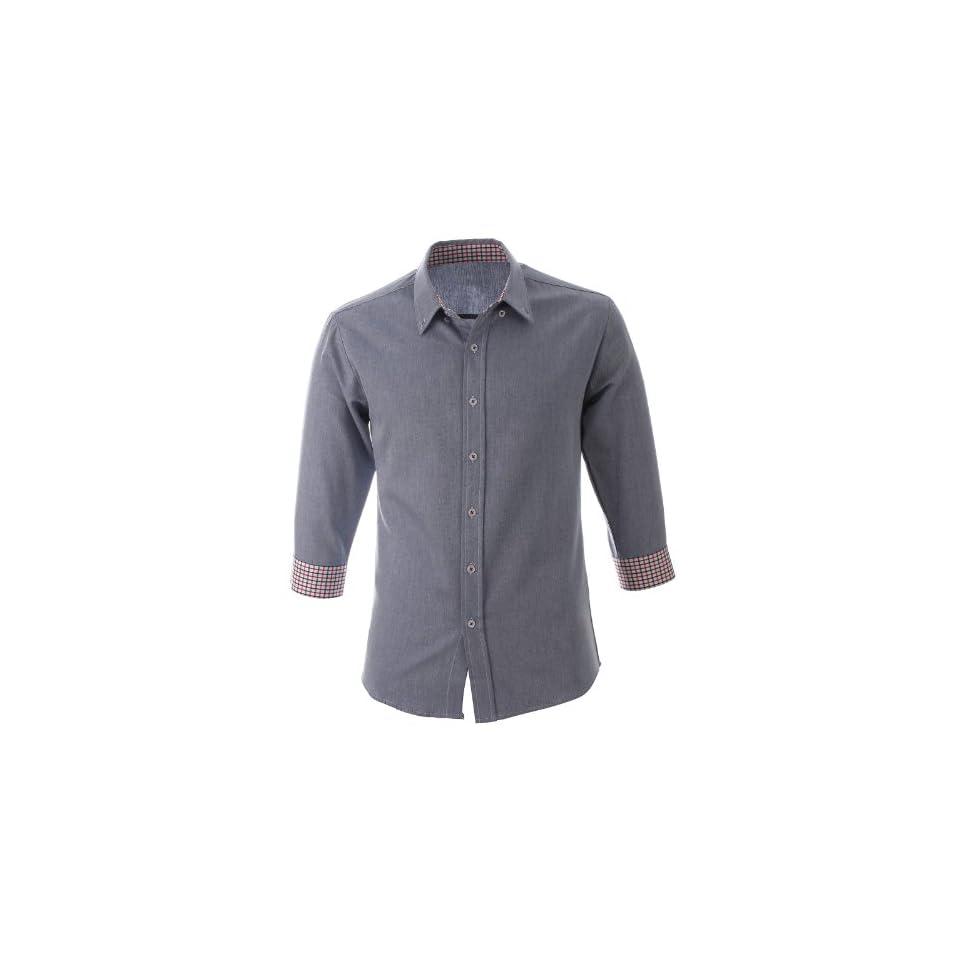 FLATSEVEN Mens Slim Fit 3/4 Sleeve Casual Dress Shirts SH161BL, M