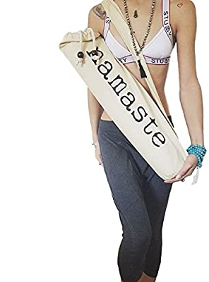 Yoga Mat Bag w/ Shoulder Strap & Drawstring. Natural Cotton Organic Feel Fiber. Lightweight & Durable