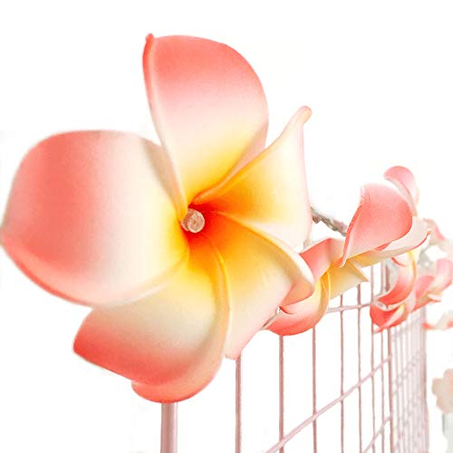 AceList 20-LED String Light Hawaiian Foam Artificial Plumeria Flower Battery Powered Fairy Starry Lights for Wedding Beach Party-Pink by AceList