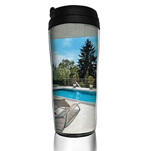 Stainless Steel Insulated Coffee Travel Mug,View from the Veranda Summer Day Scenery Terrace,Spill Proof Flip Lid Insulated Coffee cup Keeps Hot or Cold 11.8oz(350 ml) Customizable printing ()