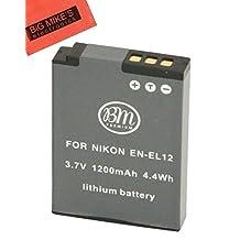 BM Premium EN-EL12 Battery for Nikon Coolpix A900, AW100, AW110, AW120, AW130, S31, S800C, S6100, S6200, S6300, S8100, S8200, S9050, S9100, S9200, S9300, S9400, S9500, S9700, S9900, P300, P310, P330, P340, S1100PJ, S1200PJ Digital Camera